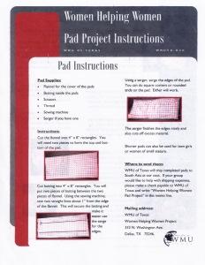 WMU Sanitary Napkins instructions